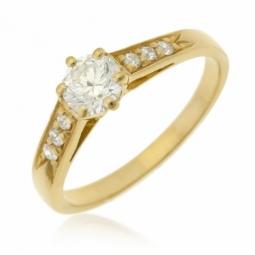 Bague solitaire accompagné en or jaune diamants serti 6 griffes