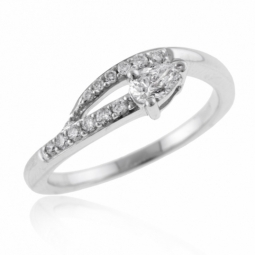 Solitaire en or gris diamant poire et diamants