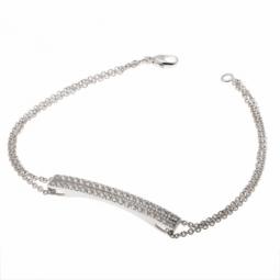 Bracelet double chaîne en or gris et 2 rangs diamants