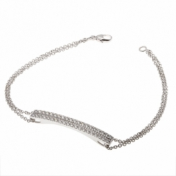 Bracelet double chaîne en or gris et 2 rangs diamants