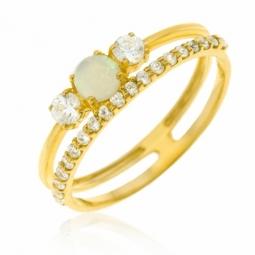 Bague en or jaune, opale et oxydes de zirconium