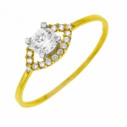 Bague en or jaune rhodié et oxydes de zirconium