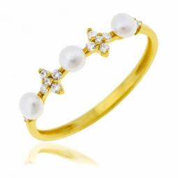 Bague en or jaune, perles de culture et oxydes de zirconium