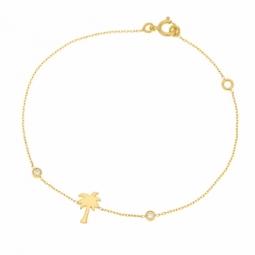 Bracelet en or jaune et oxydes de zirconium, palmier