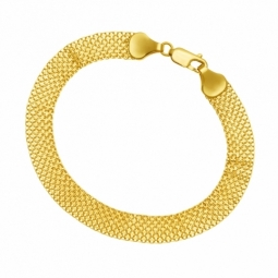 Bracelet en or jaune, maille fantaisie plate