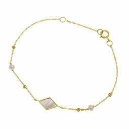 Bracelet en or jaune, nacre et perles de culture