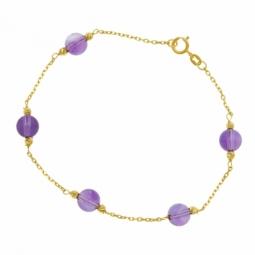 Bracelet en or jaune et améthystes