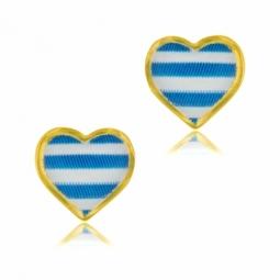 Boucles d'oreilles en or jaune et laque bleue et blanche coeur