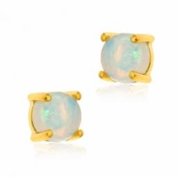 Boucles d'oreilles en or jaune et opale