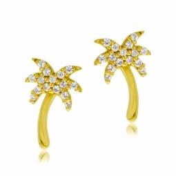 Boucles d'oreilles en or jaune et oxydes de zirconium, palmier