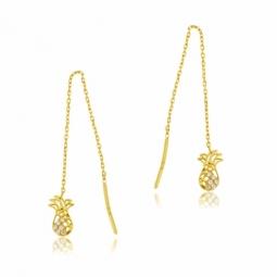 Boucles d'oreilles en or jaune et oxydes de zirconium, ananas