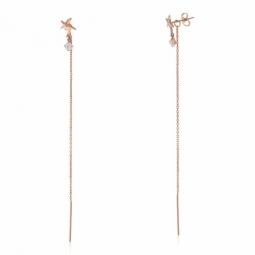 Boucles d'oreilles en or rose et oxyde de zirconium