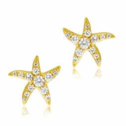 Boucles d'oreilles en or jaune et oxydes de zirconium, étoile de mer