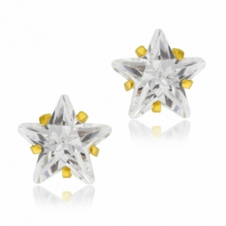 Boucles d'oreilles en or jaune et oxyde de zirconium, étoile