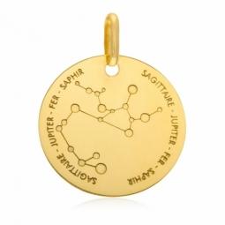 Médaille zodiaque en or jaune, sagittaire