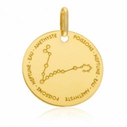 Médaille zodiaque en or jaune, poissons