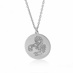 Collier en argent rhodié, zodiaque scorpion