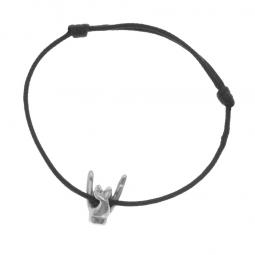 Bracelet cordon en argent rhodié, signe rock