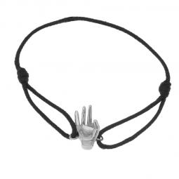 Bracelet cordon en argent rhodié, signe ok