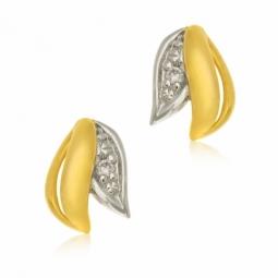 Boucles d'oreilles en or jaune rhodié , diamant