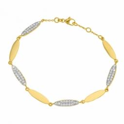 Bracelet plaqué or et rhodié, oxyde de zirconiium