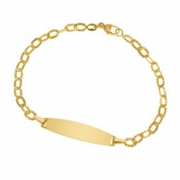 Identité en or jaune striée, plaque ovale