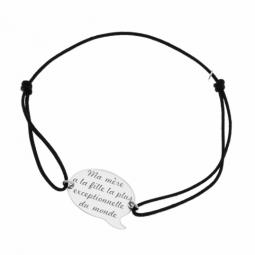Bracelet cordon en argent rhodié