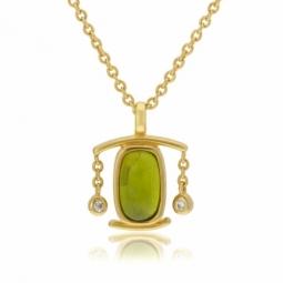 collier en plaqué or, oxydes de zirconium et verre, balance