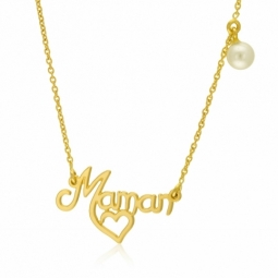 Collier en or jaune, perle de culture, maman