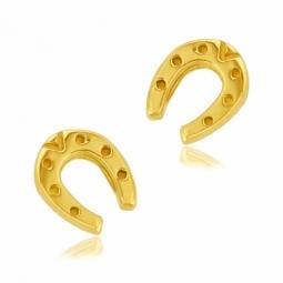 Boucles d'oreilles en or jaune, fer à cheval