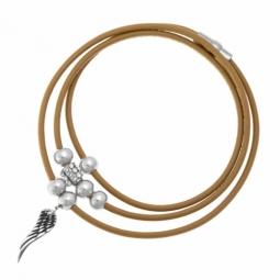 Bracelet cuir marron et acier, strass