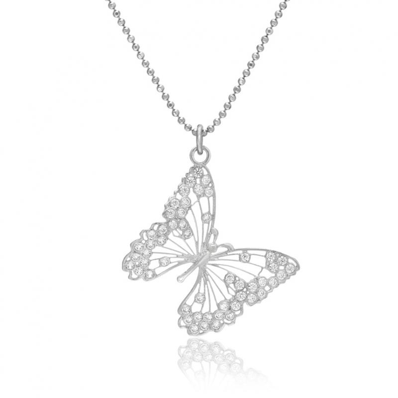 cb82fa8a90106 ... Femme>Collier>Collier en argent rhodié et oxydes de zirconium, papillon.  A