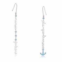Boucles d'oreilles argent rhodié et laque, oxydes de zirconium