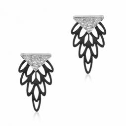 Boucles d'oreilles argent rhodié et cuir noir
