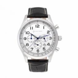 Chronographe, boîte acier, bracelet cuir noir et verre minéral