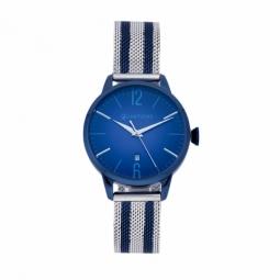 Montre homme, boîte acier, bracelet acier maille milanaise en acier et acier bleu et verre minéral