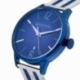 Montre homme, boîte acier, bracelet acier maille milanaise en acier et acier bleu et verre minéral - B