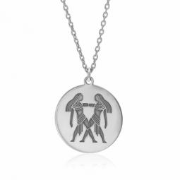 Collier en argent rhodié, zodiaque gémeaux