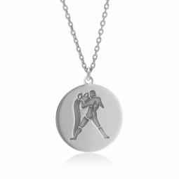 Collier en argent rhodié, zodiaque verseau