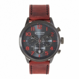 Chronographe homme, boîte en acier noir, bracelet en cuir et verre minéral