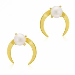 Boucles d'oreilles en or jaune, perle de culture