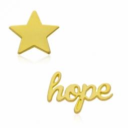 Boucles d'oreilles en or jaune, hope et étoile