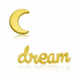 Boucles d'oreilles en or jaune, dream et lune