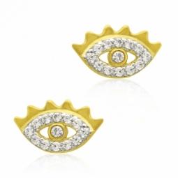 Boucles d'oreilles en or jaune rhodié, oxydes de zirconium