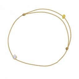 Bracelet cordon doré en or jaune  serti de Swarovski Zirconia