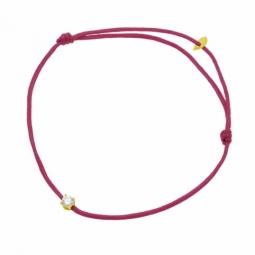 Bracelet cordon fuchsia en or jaune serti de Swarovski Zirconia