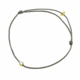 Bracelet cordon kaki en or jaune serti de Swarovski Zirconia