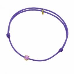Bracelet cordon violet en or jaune, oxyde de zirconium
