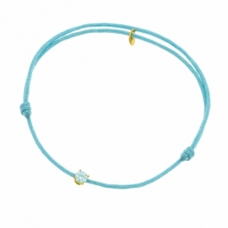 Bracelet cordon bleu clair en or jaune serti de Swarovski Zirconia