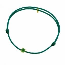 Bracelet cordon vert foncé en or jaune serti de Swarovski Zirconia